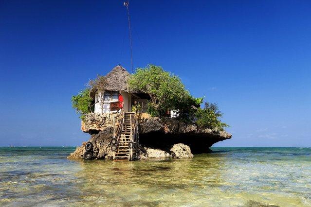 High tide a the rock restaurant, located in Zanzibar, on Oktober 17, 2013. (Photo by HotSpot Media)