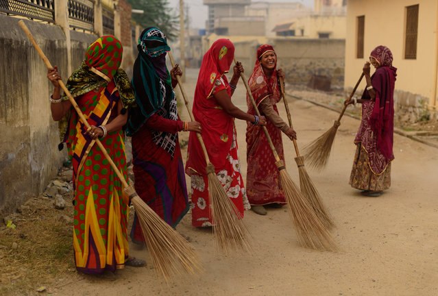 """Early morning in Mandawa, rural Rajasthan: it was the morning of Diwali and the streets were swept by smiling women in brightly coloured sarees as I took an early morning cup of chai. Celebrations started later, when darkness fell"". (Photo by Hamish Scott-Brown/Guardian Witness)"