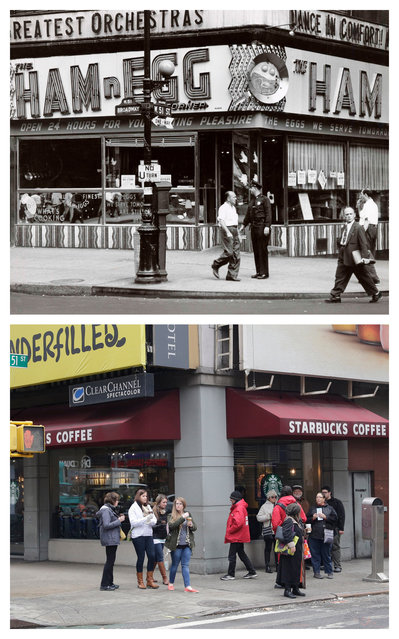 "This combination shows the 1953 photo ""The Ham n Egg"" by Weegee, provided by the International Center of Photography in New York, and from the same vantage point, a Starbucks on Tuesday, March 17, 2015. (Photo by AP Photo/Copyright Weegee/The International Center of Photography, Mark Lennihan)"