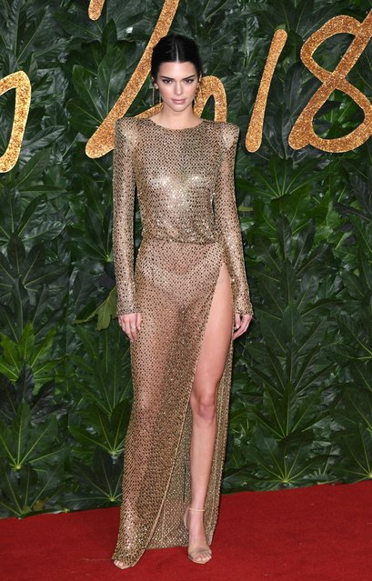 Kendall Jenner arrives at The Fashion Awards 2018 In Partnership With Swarovski at Royal Albert Hall on December 10, 2018 in London, England. (Photo by Splash News and Pictures)