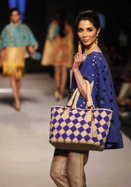 Models present creations by Pakistani designer Jaffer Jees at Pakistan Fashion Week 2015, Wednesday, April 1, 2015 in Karachi, Pakistan. (Photo by Shakil Adil/AP Photo)