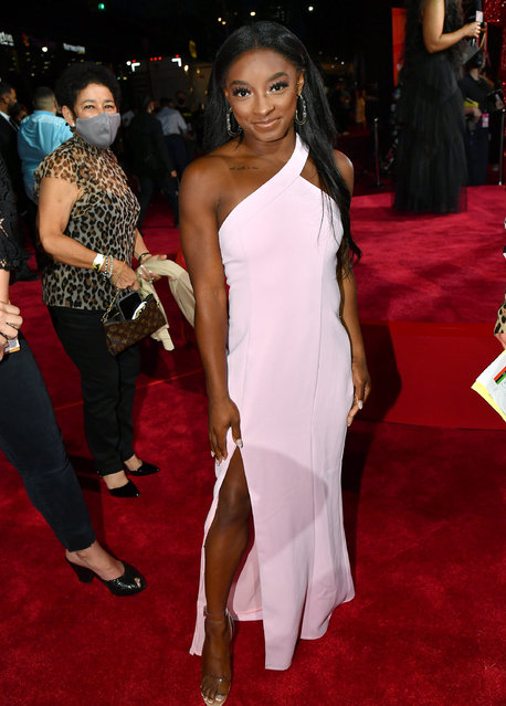 American artistic gymnast Simone Biles attends the 2021 MTV Video Music Awards at Barclays Center on September 12, 2021 in the Brooklyn borough of New York City. (Photo by Jeff Kravitz/MTV VMAs 2021/Getty Images for MTV/ViacomCBS)