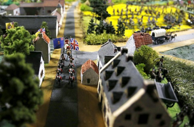 Figurines representing Major General Lambert at the head of the Fourth King's Own Regiment of the British Army are seen on a 40-square-metre miniature model of the June 18, 1815 Waterloo battlefield, in Diest, Belgium, in this picture taken on April 29, 2015. (Photo by Francois Lenoir/Reuters)