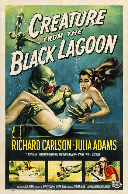 """Creature from the Black Lagoon (Universal International, 1954). One Sheet (27"""" X 41"""") with Albert Kallis artwork. Since the initial release of this film, the Creature has become one of the most popular monsters in the Universal stable, rivaling such horror icons as Dracula, Frankenstein, and the Wolf Man. Estimate: $10,000 - $20,000. (Photo by Courtesy Heritage Auctions)"""