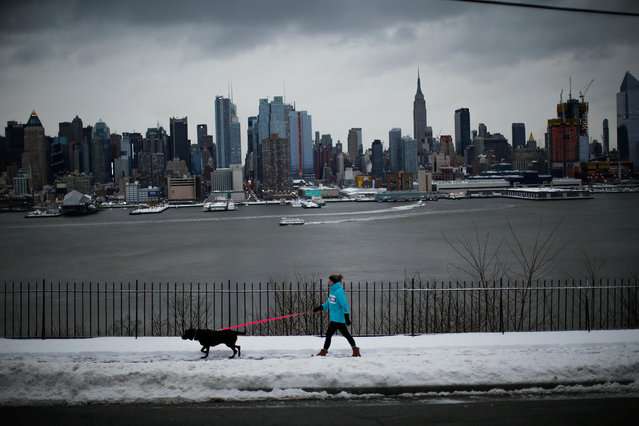 A woman walks her dog in Weehawken, New Jersey, as the Empire State Building and Middle Manhattan are seen after a snowstorm in New York, U.S., March 14, 2017. (Photo by Eduardo Munoz/Reuters)