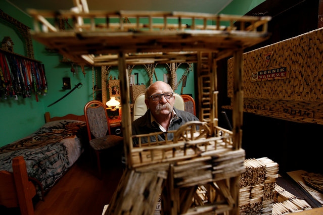 Janusz Urbansk looks on as he sits among his matchstick sculptures in his flat in Ruda Slaska, Poland May 4, 2016. (Photo by Kacper Pempel/Reuters)