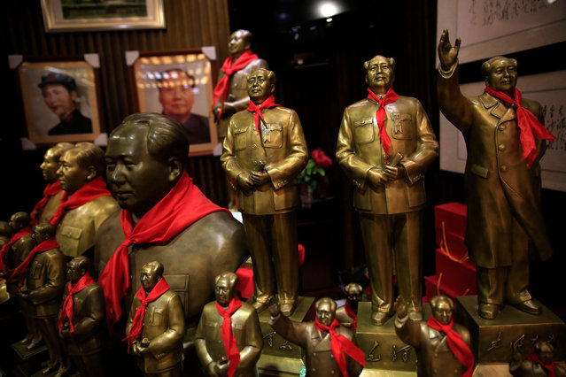 Statues of Mao Zedong are displayed for sale at a souvenir store in Shaoshan, Hunan Province in central China, 28 April 2016. (Photo by How Hwee Young/EPA)