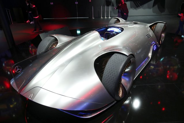 The Mercedes-Benz EQ Silver Arrow concept car is pictured during the preparations for the international Frankfurt Motor Show IAA in Frankfurt, Germany on September 9, 2019. (Photo by Ralph Orlowski/Reuters)