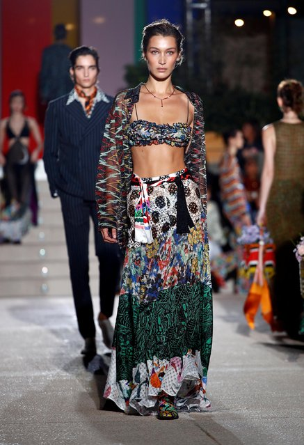 Bella Hadid presents a creation from the Missoni Spring/Summer 2020 collection during fashion week in Milan, Italy, September 21, 2019. (Photo by Alessandro Garofalo/Reuters)