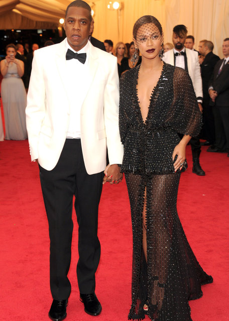 "Jay-Z and Beyonce attends the ""Charles James: Beyond Fashion"" Costume Institute Gala at the Metropolitan Museum of Art on May 5, 2014 in New York City. (Photo by Kevin Mazur/WireImage)"
