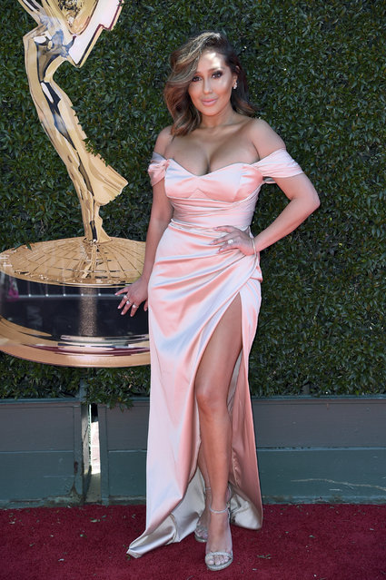 Adrienne Bailon arrives at the 44th Annual Daytime Emmy Awards at the Pasadena Civic Center on Sunday, April 30, 2017, in Pasadena, Calif. (Photo by Richard Shotwell/Invision/AP Photo)