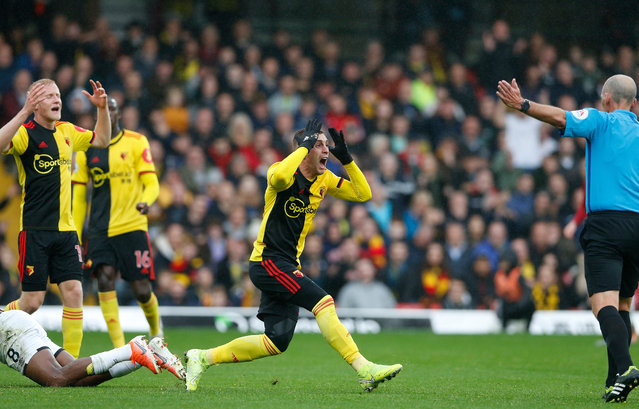 Gerard Deulofeu of Watford holds his head in disbelief after a refereeing decision by Mike Riley at Vicarage Road Stadium, Watford, UK on October 26, 2019. A 0-0 draw meant Watford are still without a win this season. (Photo by Matthew Impey/Rex Features/Shutterstock)