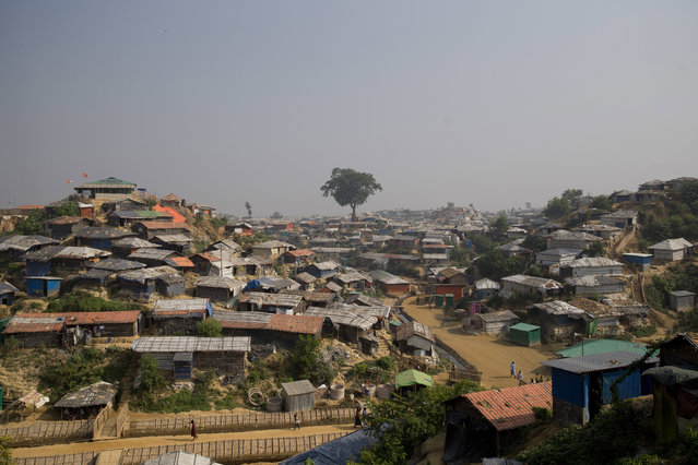 A November 17, 2018 file photo of Balukhali refugee camp near Cox's Bazar, in Bangladesh. A Cabinet minister says authorities in Bangladesh will build barbed-wire fences around sprawling camps housing Rohingya refugees to stop their expansion. (Photo by Dar Yasin/AP Photo/File)