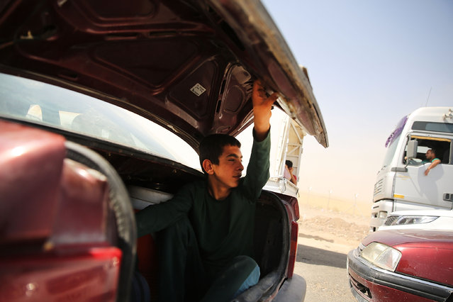 An Iraqi teen sits in the trunk of the family car as they wait to enter a temporary displacement camp for Iraqis caught-up in the fighting in and around the city of Mosul on June 26, 2014 in Khazair, Iraq. (Photo by Spencer Platt/Getty Images)