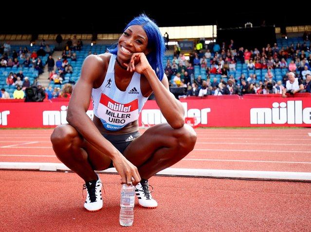 Bahamas' Shaunae Miller-Uibo celebrates winning the women's 200 meters final at the Diamond League Birmingham Grand Prix in Birmingham, Britain on August 18, 2019. (Photo by Jason Cairnduff/Action Images via Reuters)