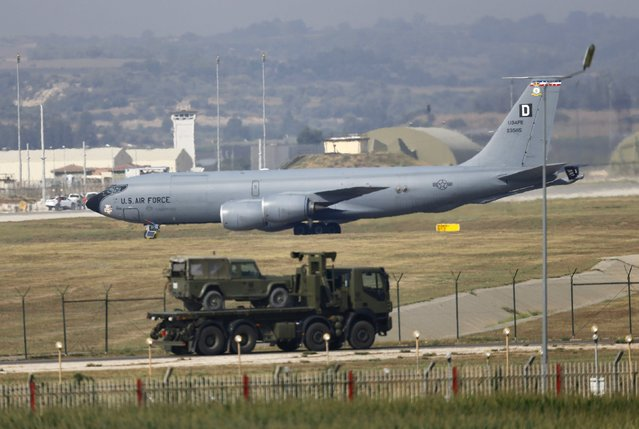 A U.S. Air Force Boeing KC-135R Stratotanker aerial refueling aircraft lands at Incirlik air base in Adana, Turkey, August 10, 2015. The United States sent six F-16 jets and about 300 personnel to Incirlik Air Base in Turkey on Sunday, the U.S. military said, after Ankara agreed last month to allow American planes to launch air strikes against Islamic State militants from there. (Photo by Murad Sezer/Reuters)