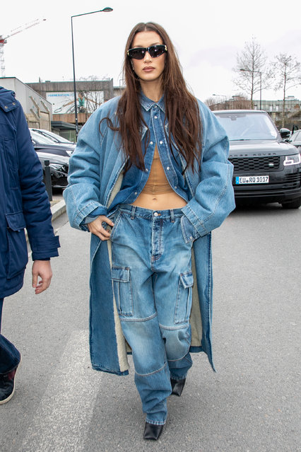 Model Bella Hadid is seen on March 01, 2020 in Paris, France. (Photo by Marc Piasecki/GC Images)