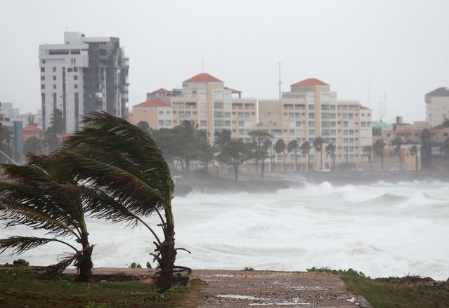 Waves crash along the shores of the Malecon in Santo Domingo, Dominican Republic, August 28, 2015. Tropical Storm Erika threatened Haiti with heavy rain and strong winds on Friday as it swirled across the Caribbean but showed signs of petering out as it headed toward south Florida, the U.S. National Hurricane Center said. (Photo by Ricardo Rojas/Reuters)