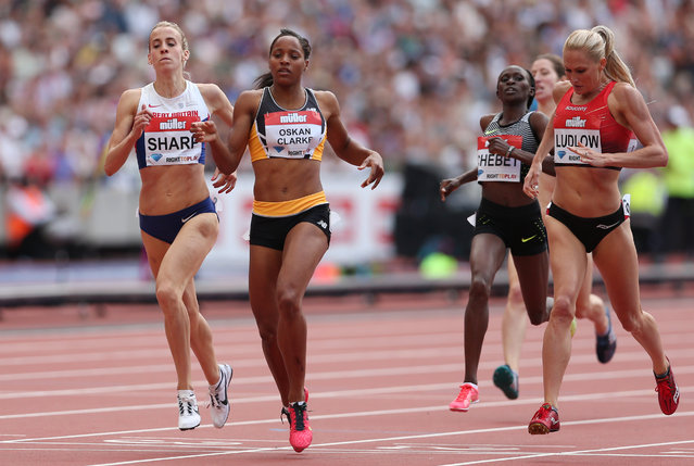 Britain Athletics, 2016 London Anniversary Games, Queen Elizabeth Olympic Park, Stratford, London on July 23, 2016. Great Britain's Shelayna Oskan-Clarke wins the women's 800m. (Photo by Matthew Childs/Reuters/Action Images/Livepic)