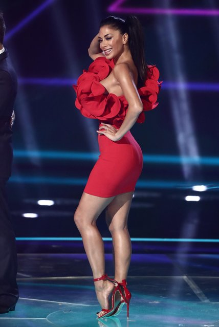 """Nicole Scherzinger at """"The X Factor"""" TV show, Series 14, Episode 19, UK on November 4, 2017. (Photo by Dymond/Thames/Syco/Rex Features/Shutterstock)"""