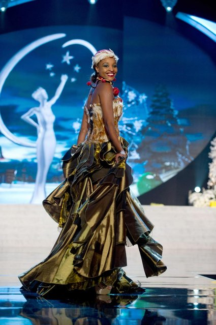 Miss Namibia 2012, Tsakana Nkandih, performs onstage at the 2012 Miss Universe National Costume Show on Friday, December 14, 2012 at PH Live in Las Vegas, Nevada. The 89 Miss Universe Contestants will compete for the Diamond Nexus Crown on December 19, 2012. (Photo by AP Photo/Miss Universe Organization L.P., LLLP)