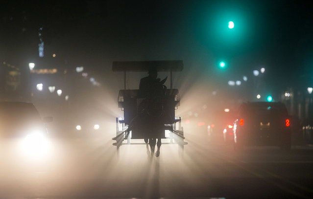 A horse buggy is headed for the stables on a foggy night in New Orleans, Monday, December 18, 2017. (Photo by David Grunfeld/NOLA.com The Times-Picayune via AP Photo)