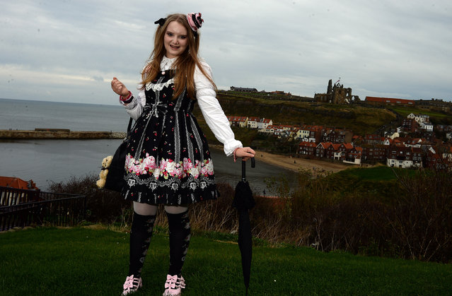 Goth Catriona Sutcliffe of Nottingham in her japanese Goth style of Lolita; Whitby Goth Weekend, Britain, on November 2, 2014. The event grew out of the punk scene in 1984 with its own style of music and fashion. The event in Whitby now attracts Goths from all over Europe and creates over 1 million pounds in revenue for local busnisess. (Photo by Nigel Roddis/Rex Features)