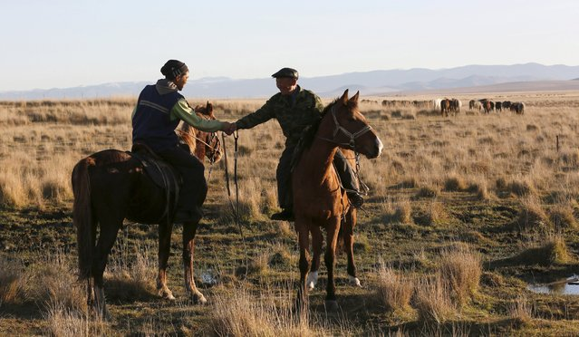 Herder and farmer Stai-ool Ondar (R) shakes hand with his nephew Mengi Mongush near their family farm located near the Cheder Lake outside the village of Kur-Cher in Tuva region, Southern Siberia, Russia, October 8, 2015. (Photo by Ilya Naymushin/Reuters)