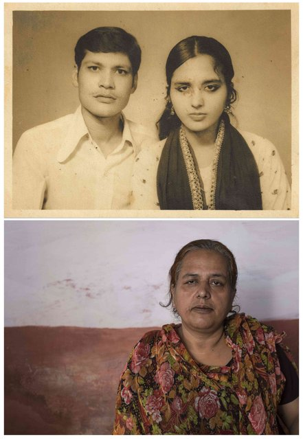 A combination picture shows Zubeida (R) with her husband Salim Rehman in an undated family photograph (top), and (bottom) Zubeida Bi alone in Bhopal on November 11, 2014. Bi said that Rehman died as a result of gas poisoning after the 1984 Bhopal disaster. (Photo by Danish Siddiqui/Reuters)