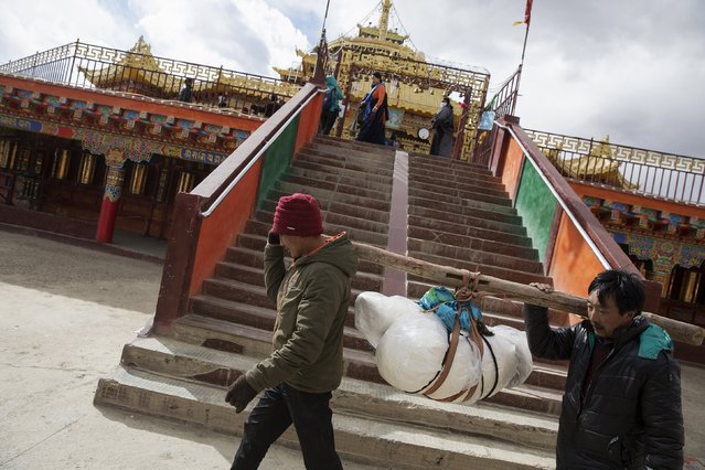 Ethnic Tibetans carry a body of their deceased relative, before being taken for a sky burial, around a monastery for 80 times at the Larung valley located some 3700 to 4000 metres above the sea level in Sertar county, Garze Tibetan Autonomous Prefecture, Sichuan province, China October 30, 2015. (Photo by Damir Sagolj/Reuters)