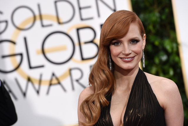 Jessica Chastain arrives at the 72nd annual Golden Globe Awards at the Beverly Hilton Hotel on Sunday, January 11, 2015, in Beverly Hills, Calif. (Photo by Jordan Strauss/Invision/AP Photo)
