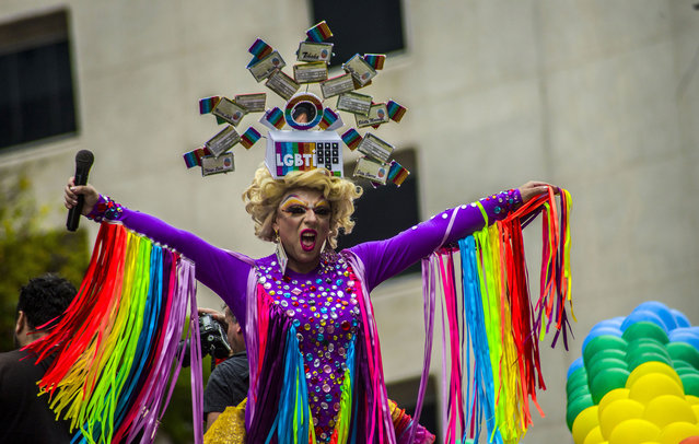 Thousands of revellers celebrate at the Gay Pride Parade at Paulista Avenue on Sunday, June. 3, 2018. (Photo by Cris Faga/NurPhoto via Getty Images)