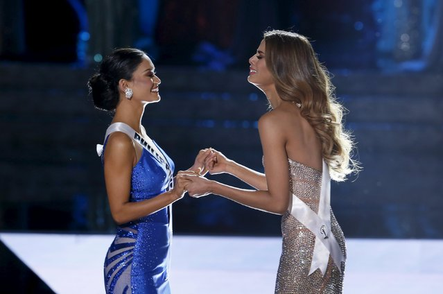 Miss Philippines Pia Alonzo Wurtzbach (L) waits with Miss Colombia Ariadna Gutierrez as Miss Colombia was initially announced as Miss Universe during the 2015 Miss Universe Pageant in Las Vegas, Nevada, December 20, 2015. Host Steve Harvey said he made a mistake when reading the card and Miss Philippines Pia Alonzo Wurtzbach is the actual winner. (Photo by Steve Marcus/Reuters)