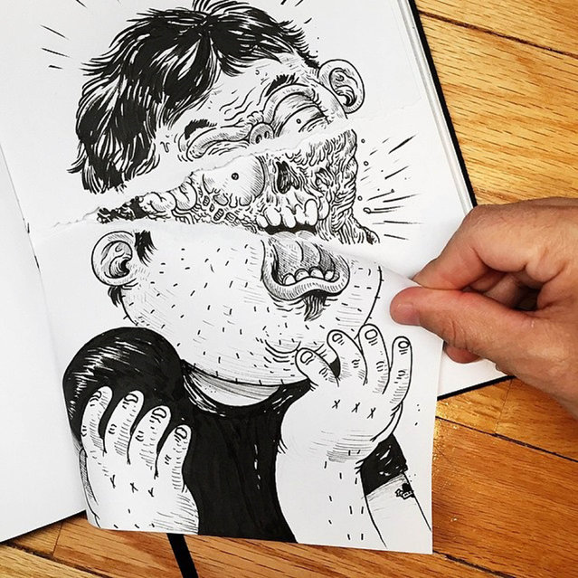A quirky cartoonist challenged his own creation to a fight – but he could only draw. US artist Alex Solis, 31, from Chicago, Illinois, drew his skull t-shirt-wearing alter ego, who he calls Chuck, smashing his phone and stabbing his finger in his Inkteraction pictures. (Photo by Alex Solis/Caters News)