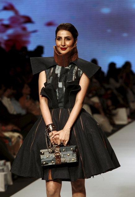 A model presents creations by Pakistani student designers Rimsha Shakir, Shehza Azhar, Hasan Riaz and Momal Zia, during Fashion Pakistan Week (FPW) in Karachi March 31, 2015. (Photo by Akhtar Soomro/Reuters)