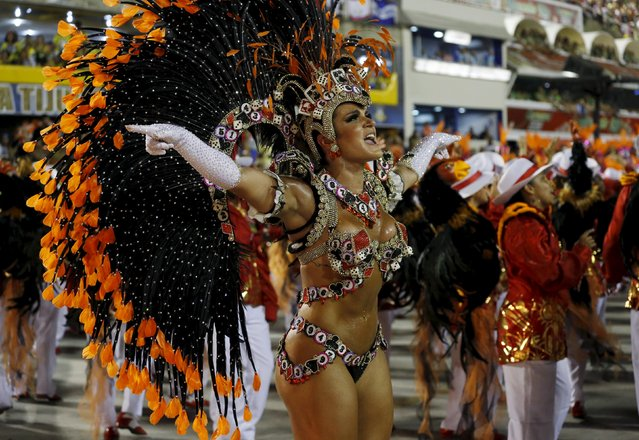 A reveller of Salgueiro samba school performs during the carnival parade at the Sambadrome in Rio de Janeiro February 8, 2016. (Photo by Sergio Moraes/Reuters)