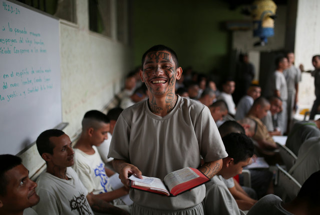 Luis Alfredo Alvarado Hernandez, member of the Torre Fuerte (Strong Tower) evangelical church poses for a picture at the San Francisco Gotera prison, in San Francisco Gotera, El Salvador, April 10, 2018. (Photo by Jose Cabezas/Reuters)
