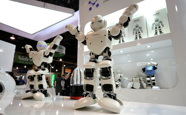 UBTech Alpha 1 Pro robots perform at the Robotics Marketplace at CES in Las Vegas, U.S., January 5, 2017. (Photo by Rick Wilking/Reuters)