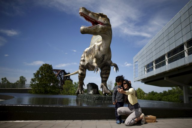 People photograph themselves in front of an animatronic dinosaur at the William J. Clinton Presidential Center & Park in Little Rock, Arkansas, United States April 27, 2015. (Photo by Lucy Nicholson/Reuters)