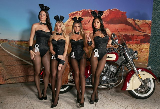 (L-R) Playmates Summer Altice, Heather Rae Young, Monica Sims and Hiromi Oshima poses on the Indian Motorcycle during the Playboy party with TAO at Spire Nightclub on February 4, 2017 in Houston, Texas. (Photo by Christopher Polk/Getty Images for Playboy)