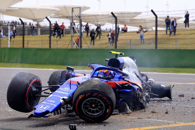 Toro Rosso's Alexander Albon after crashing during the third practice session ahead of the Chinese Formula One Grand Prix at the Shanghai International circuit in Shanghai, China, 13 April 2019. The 2019 Chinese Formula One Grand Prix will take place on 14 April. (Photo by Aly Song/Reuters)