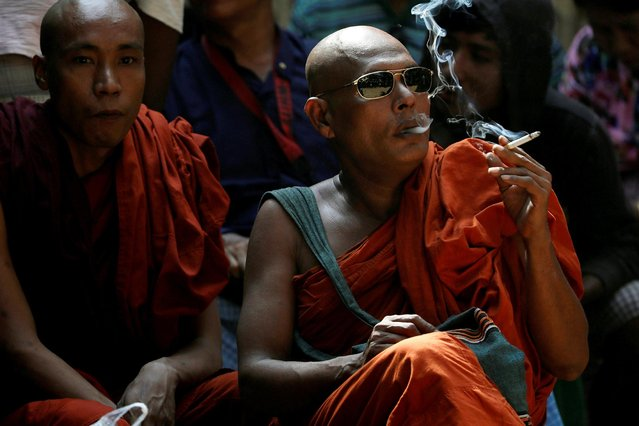 Buddhist monks attend the final verdict for Muslim lawyer Ko Ni's murder case at Insein court in Yangon, Myanmar February 15, 2019. (Photo by Ann Wang/Reuters)