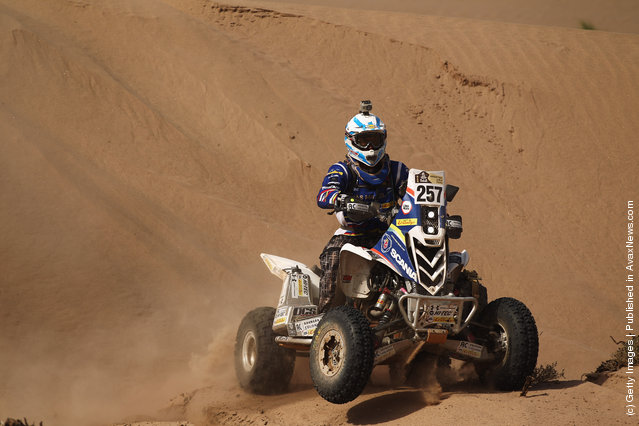 Thomas Maffei of Argentina and the Maffei Dakar Team in action on his Yamaha Quad during stage five of the 2012 Dakar Rally