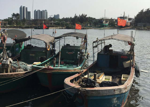 Fishing boats with Chinese national flags are seen at a harbour in Tanmen, Hainan province, April 5, 2016. (Photo by Megha Rajagopalan/Reuters)