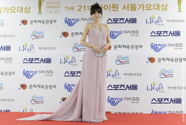 Actress Kong Hyun-Joo arrives during the 21st High1 Seoul Music Awards