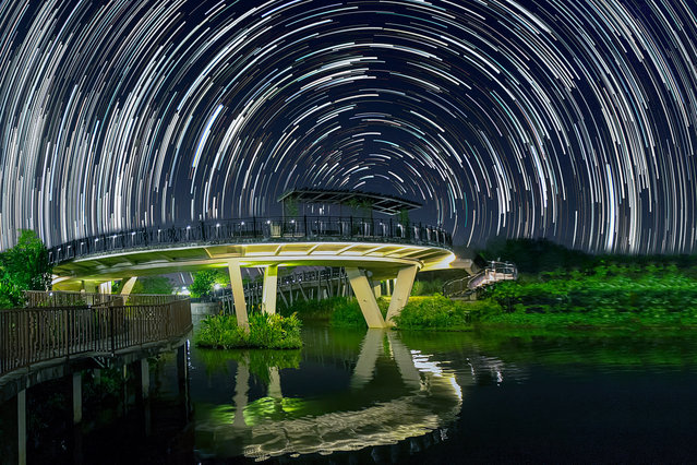 Star trails photographed by Justin Ng at the backdrop of a bridge in Punggol, Singapore. These astonishing images of night sky are captured by Singapore based photographer Justin Ng. The pictures were taken between November 2013 to January 2014. It show's star trail caused by the earth's rotation and also can be achieved by zooming the DSLR lens inward or outward in small steps using a dedicated motorized zooming device. (Photo by  Justin Ng/Barcroft Media)