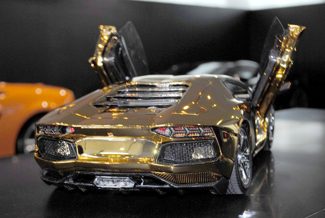 A replica model of a Lamborghini Aventador LP 700-4 made by German engineer Robert Gülpen, on display at the Lamborghini showroom, in Dubai, UAE. (Photo by Robert Gulpen/Barcroft Media)