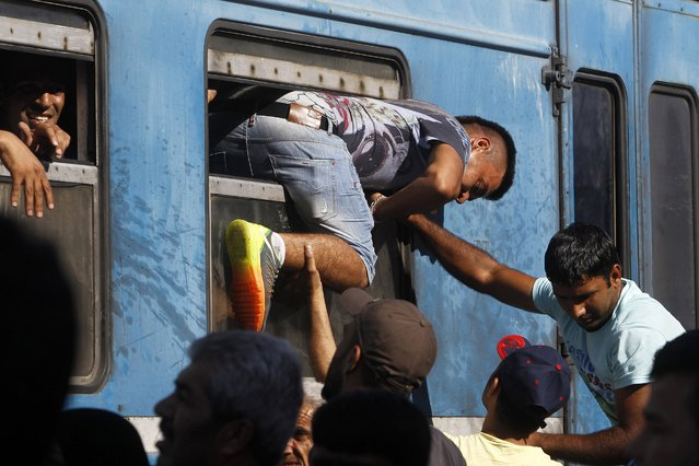 In this photo taken on Thursday, July 23, 2015 a migrant  enters a train through a window at the railway station in the southern Macedonian town of Gevgelija. (Photo by Boris Grdanoski/AP Photo)