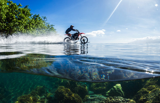In this April, 2015, photo provided by DC Shoes, daredevil Robbie Maddison in his latest stunt rides his motorcycle across waves in Tahiti, French Polynesia, using ski-like devices on his wheels. (Photo by Tim McKenna/DC Shoes via AP Photo)