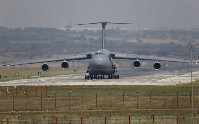 U.S. Air Force (USAF) C-5 Galaxy Outsize Cargo Transport Aircraft lands at Incirlik air base in Adana, Turkey, August 10, 2015. (Photo by Murad Sezer/Reuters)